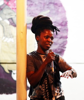 Muholi responding to audience questions during Somnyama Ngonyama book celebration. Image by: Lerato Dumse